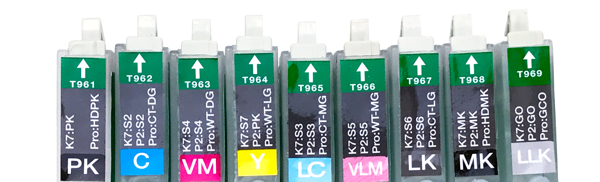 Refillable Cartridge - Epson R2880 - Set 9 with syringes